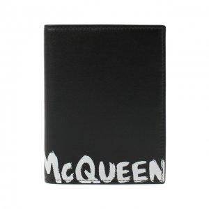 Кожаная обложка для паспорта Alexander McQueen. Цвет: чёрно-белый