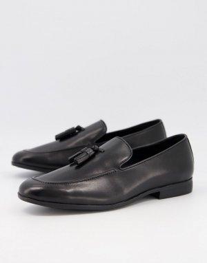 Черные кожаные лоферы с кисточками Manage-Черный цвет Office