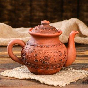 Чайник малый с рисунком, 1 л Красная глина