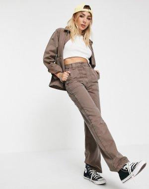 Прямые брюки в стиле casual коричневого цвета от комплекта -Коричневый цвет Topshop