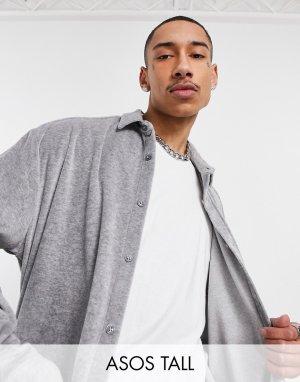 Серая меланжевая oversized-рубашка из велюра в стиле 90-х Tall-Серый ASOS DESIGN