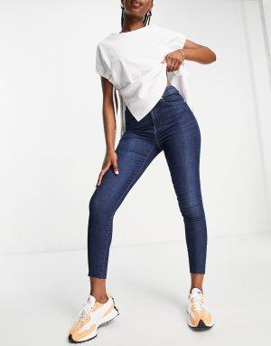Синие выбеленные укороченные джинсы скинни с завышенной талией Black Iris Life-Голубой Only