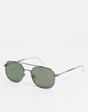 Черные квадратные солнцезащитные очки с надбровной планкой -Черный цвет Selected Homme