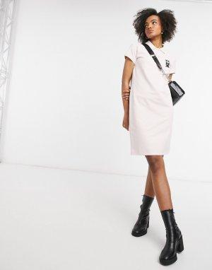Белое платье поло из ткани пике Kocktail-Розовый цвет Karl Lagerfeld