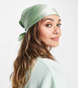 Зеленый атласный платок на голову от комплекта COLLUSION-Зеленый цвет Collusion
