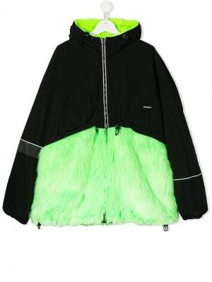 Куртка с капюшоном и вставкой из искусственного меха Cinzia Araia Kids. Цвет: черный