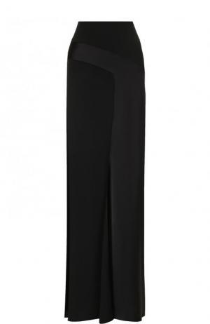 Однотонная юбка-макси с высоким разрезом Saint Laurent. Цвет: чёрный