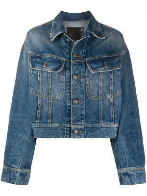 Укороченная джинсовая куртка R13. Цвет: синий