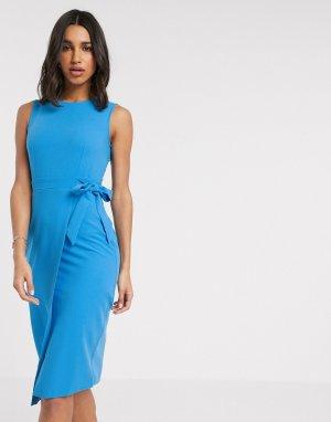 Платье с запахом -Синий Closet London