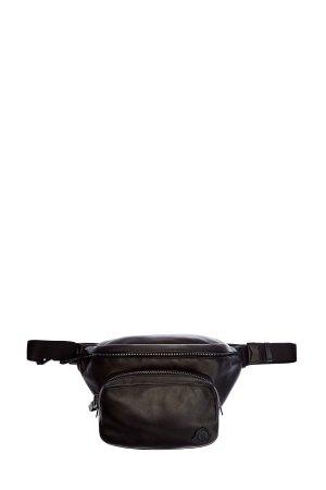 Поясная сумка из кожи ягненка с двумя отделениями MONCLER. Цвет: черный