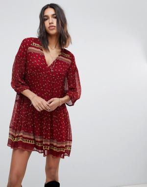 Платье мини с принтом BA&SH. Цвет: красный