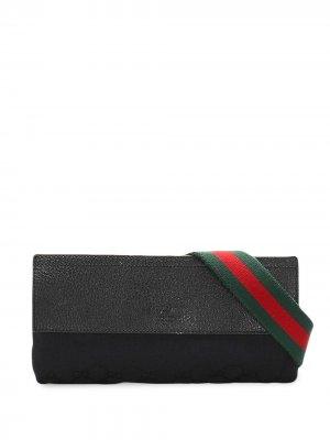Сума через плечо с отделкой Web и логотипом GG Gucci Pre-Owned. Цвет: черный