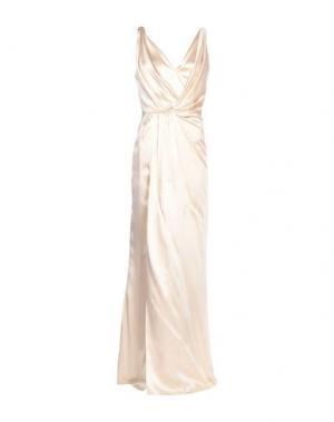 Длинное платье AZZARO. Цвет: бежевый