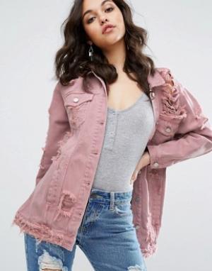 Розовая джинсовая куртка Missguided. Цвет: розовый