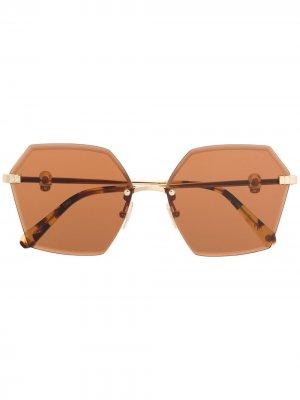 Солнцезащитные очки в массивной оправе Philipp Plein. Цвет: золотистый