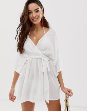 Белая пляжная накидка с рукавами-кимоно и глубоким вырезом -Белый ASOS DESIGN