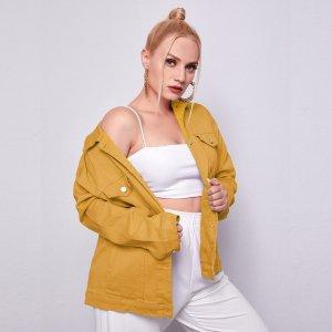 С карманами Одноцветный Джинсовая куртка размера плюс SHEIN. Цвет: горчично-желтый