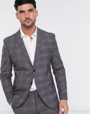 Серый узкий пиджак в клетку Selected Homme