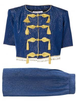 Костюм с юбкой Yves Saint Laurent Vintage. Цвет: синий