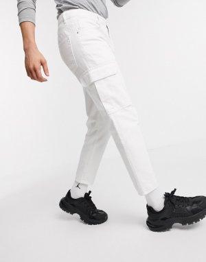 Классические белые брюки с карманами карго -Белый ASOS DESIGN