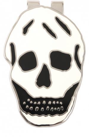 Зажим для купюр в виде черепа Alexander McQueen. Цвет: серебряный