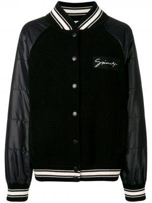 Куртка-бомбер со вставками в рубчик Givenchy. Цвет: черный