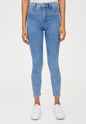 Джинсы Pull&Bear Skinny High waist. Цвет: голубой