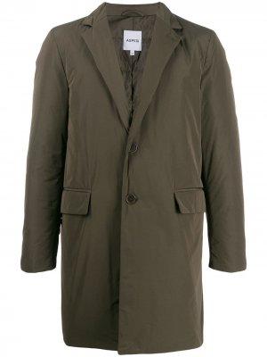 Утепленное однобортное пальто Aspesi. Цвет: зеленый