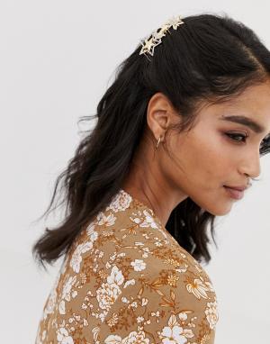 Гребень для волос со звездами и отделкой камнями -Серебряный ASOS DESIGN
