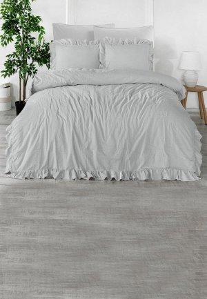Постельное белье Евро Karna STONEWASH. Цвет: серый