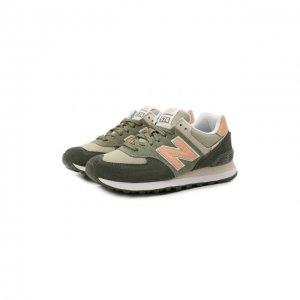 Комбинированные кроссовки 574 Classic New Balance. Цвет: зелёный