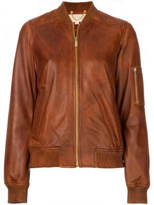 Куртка бомбер Michael Kors. Цвет: коричневый