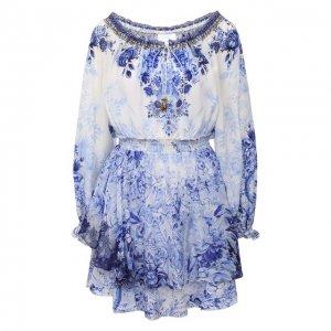 Шелковое платье Camilla. Цвет: синий
