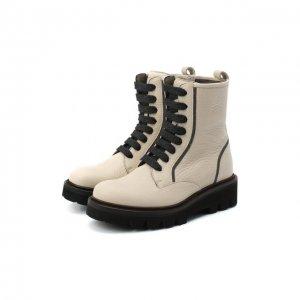 Кожаные ботинки Brunello Cucinelli. Цвет: бежевый