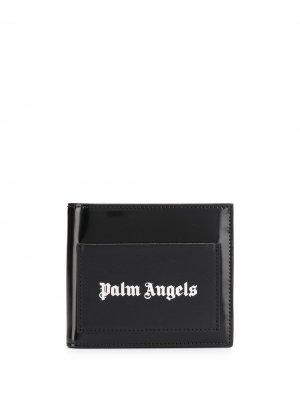 Бумажник с логотипом Palm Angels. Цвет: черный