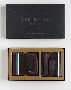 Подарочный набор из бумажника и визитницы Ted Baker. Цвет: коричневый