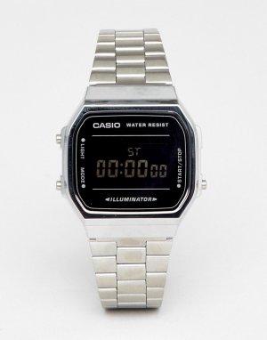 Цифровые часы-браслет в стиле унисекс серебристого/черного цвета с зеркальным эффектом A168W Unisex-Серебристый Casio