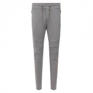 Хлопковые брюки Balmain. Цвет: серый