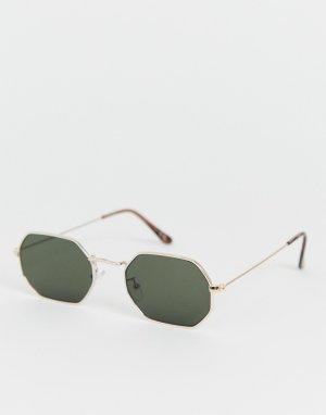 Золотистые солнцезащитные очки с затемненными стеклами -Золотистый ASOS DESIGN