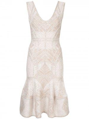 Приталенное платье миди Hervé Léger. Цвет: золотистый