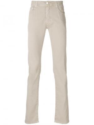 Классические брюки-чинос узкого кроя Jacob Cohen. Цвет: коричневый