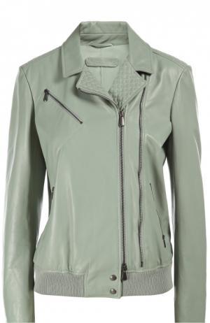 Кожаная куртка Bottega Veneta. Цвет: светло-зеленый