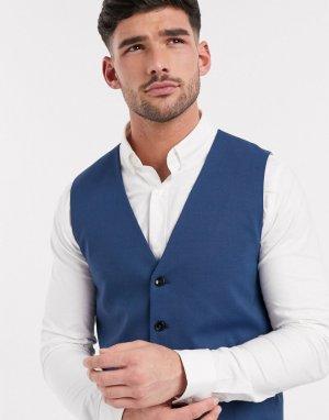 Синий приталенный жилет -Голубой Selected Homme