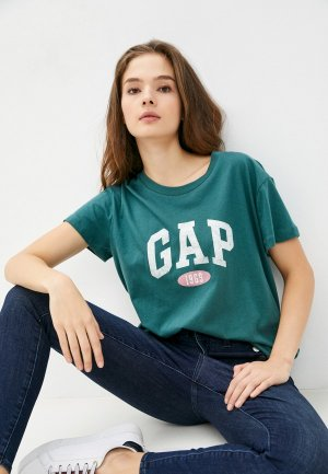 Футболка Gap. Цвет: зеленый