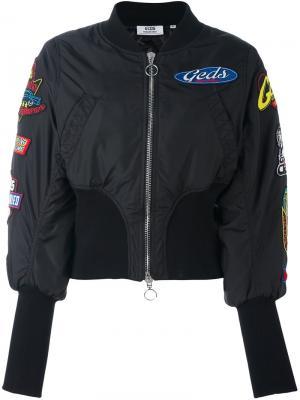 Куртка бомбер с нашивками Gcds. Цвет: чёрный