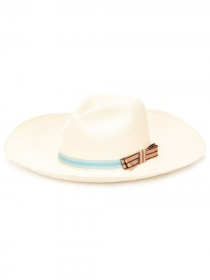 Соломенная шляпа-федора с бантом THE FREYA BRAND. Цвет: нейтральные цвета