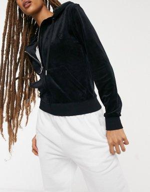 Черная супермягкая куртка из велюра на молнии с капюшоном от комплекта -Черный Juicy Couture