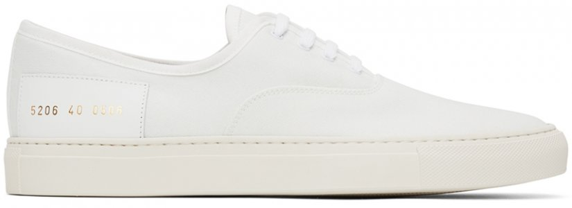 White Canvas Four Hole Sneakers Common Projects. Цвет: 0506 white