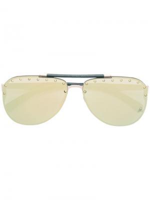Солнцезащитные очки с заклепками Calypso Philipp Plein. Цвет: золотистый