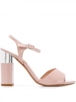 Босоножки на наборном каблуке Albano. Цвет: розовый